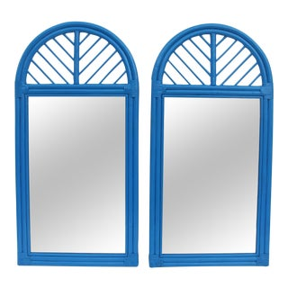 McGuire Rattan Arch Wall Mirrors - Pair For Sale