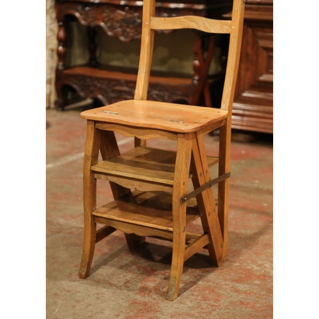 Decorate a library or study with this artisan-made folding step ladder chair. Crafted in Southern France circa 1900, the...