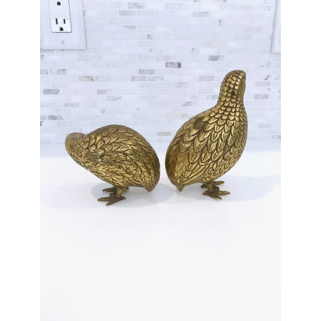 Mid-Century Japanese Brass Quails - A Pair - Image 4 of 6