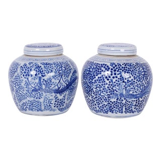 Chinese Export Style Blue and White Porcelain Ginger Jars - A Pair For Sale