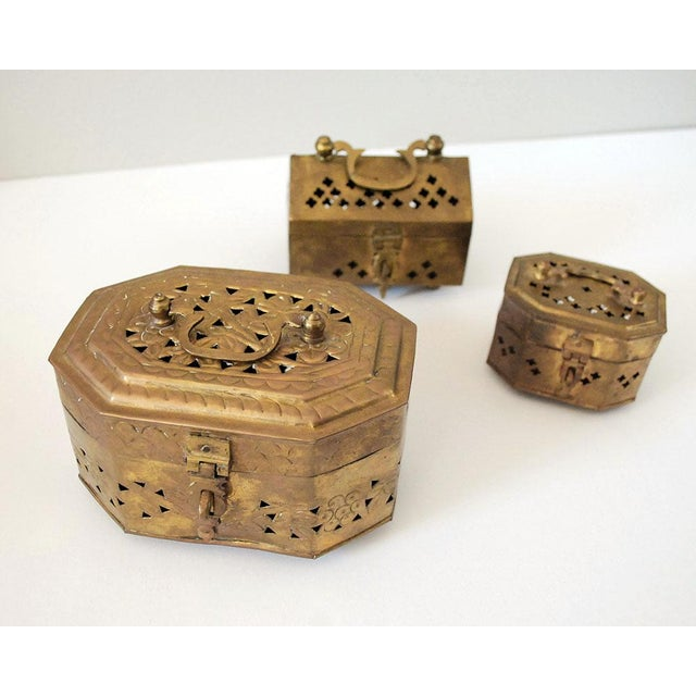 Brass Vintage Indian Brass Cricket Boxes - Set of 3 For Sale - Image 8 of 8