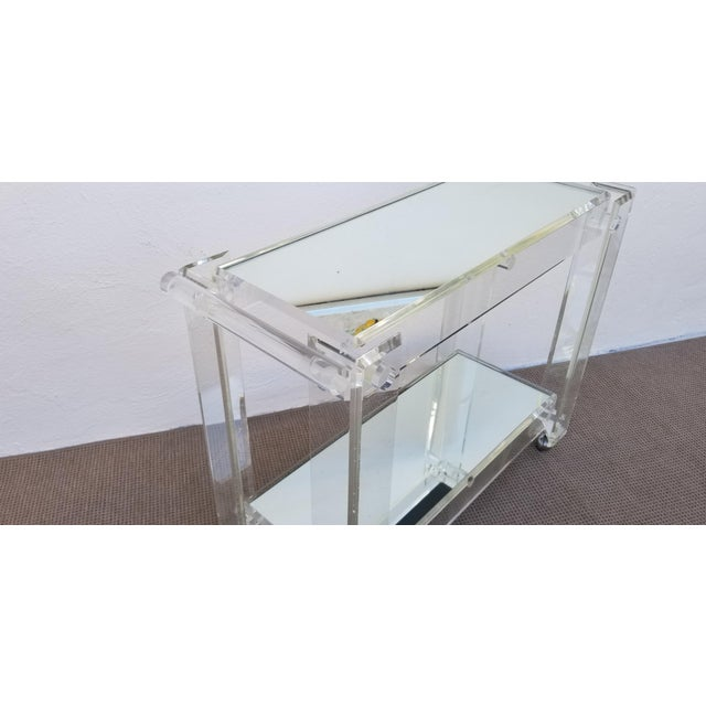 1970s Lucite Mirrored Glass Bar Cart For Sale - Image 9 of 13