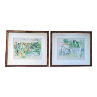 1950s Vintage Framed Watercolor Paintings After Rauol Dufy - A Pair For Sale