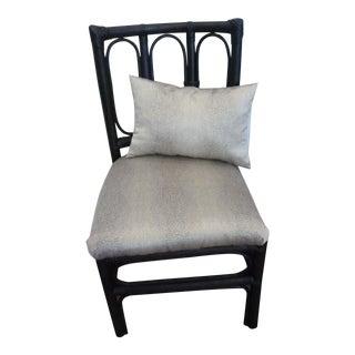 Vintage Black Rattan Side Chair For Sale