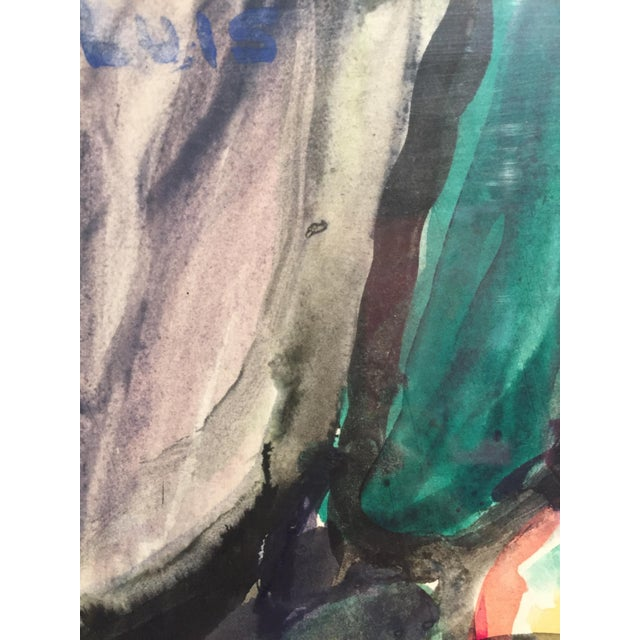 1970s 1976 Figurative Gouache Painting For Sale - Image 5 of 8