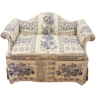 1960s Victorian Edward Ferrell Ltd. Blue and White Settee For Sale