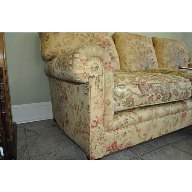 """Traditional English style George Smith Sofa with oyster, beige and """"Tea Stained"""" background"""