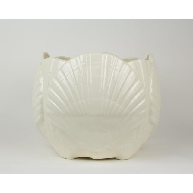 Large White Ceramic Sea Shell Planter Cache Pot For Sale In New York - Image 6 of 10