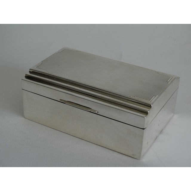 Brown Art Deco Sterling Silver Table Box For Sale - Image 8 of 10