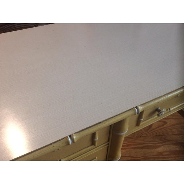 Wood Thomasville Vintage Faux Bamboo Desk For Sale - Image 7 of 9