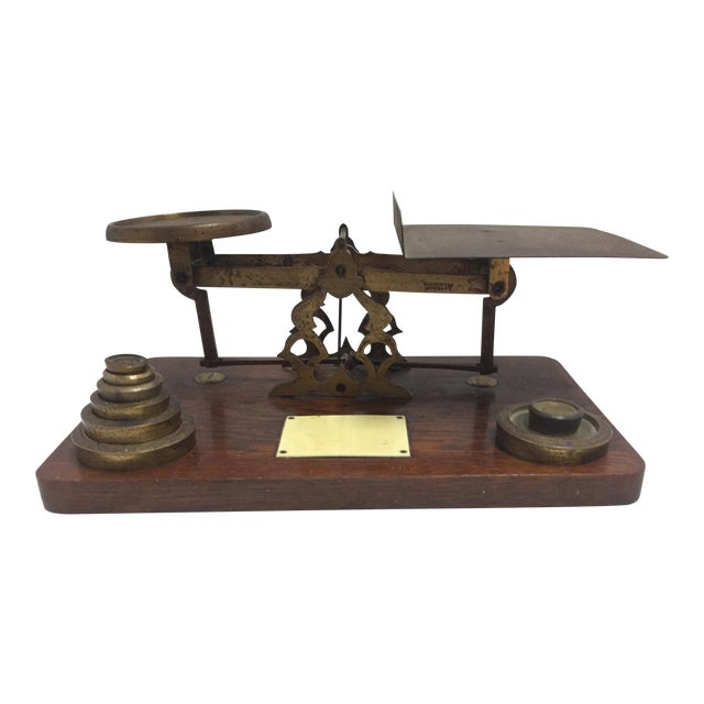 Antique Postage Scale With Weights - Image 1 of 5