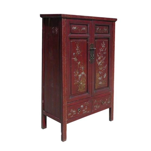Asian Vintage Chinese Armoire with Flower & Bird Accents For Sale - Image 3 of 6