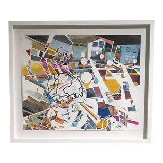 Yasemin Kackar Demirel, New Nostalgias, Landscape, Interior Space, Watercolor, Block Print on Paper, Framed For Sale