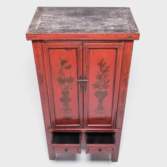 Wood 19th Century Chinese Folk Painted Cabinet For Sale - Image 7 of 10