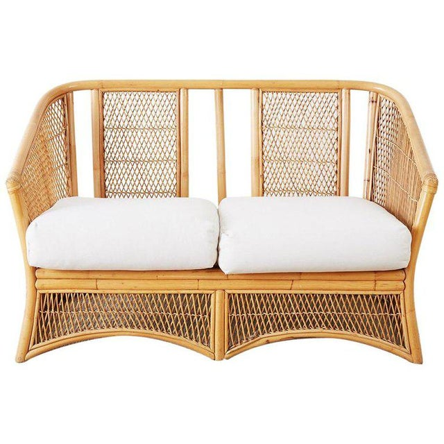 Midcentury Bamboo Rattan Wicker Settee or Loveseat For Sale - Image 13 of 13
