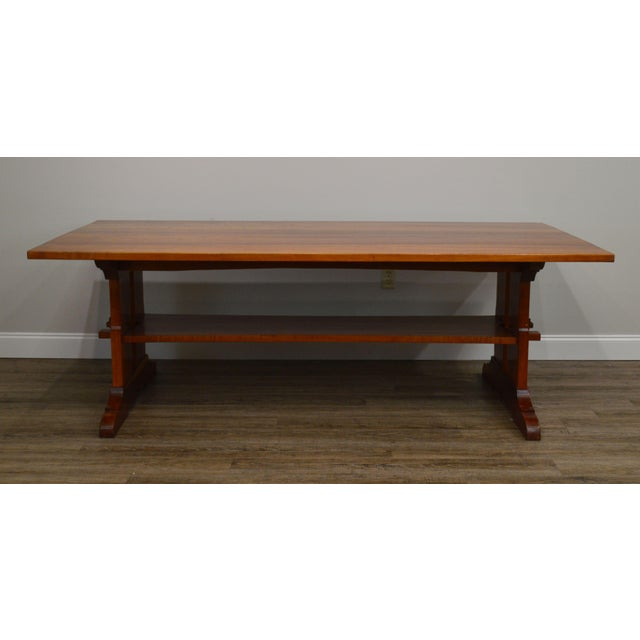 Arts & Crafts Arts & Crafts Style Custom Quality Cherry Trestle Dining Table For Sale - Image 3 of 13