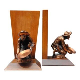 Vintage Gold Prospector Panning Bookends - a Pair For Sale