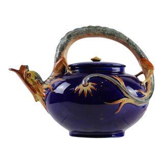 Wedgwood Majolica Dragon Teapot in Cobalt Blue by Hugues Protât, Dated 1871 For Sale