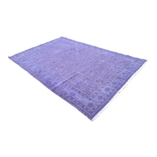 Purple Overdyed Turkish Hand Knotted Rug Oushak Area Rug- 6′9″ X 10′6″ For Sale