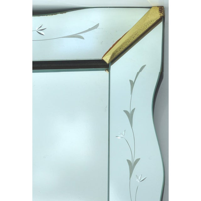 Brass 1940's Floral Cut Scalloped Mirror For Sale - Image 7 of 7