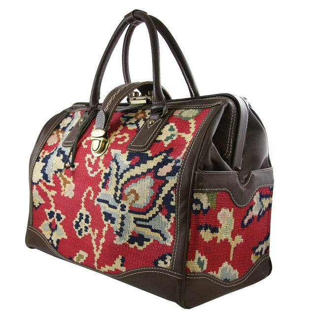 """2010s Vintage Kilim Carpet Bag   """"Mary Poppins"""" Carpet Bag For Sale - Image 5 of 5"""