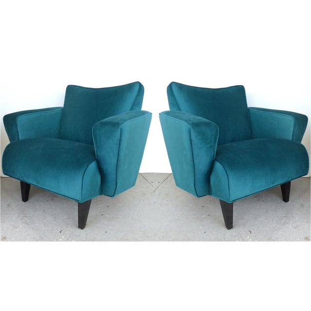 Thayer Coggin Club Chairs in Velvet - A Pair For Sale - Image 10 of 10