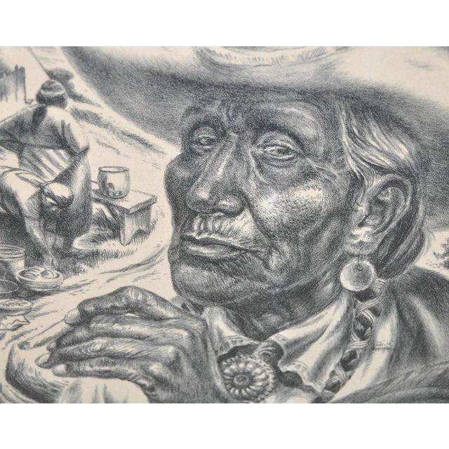 "Charles Banks Wilson ""Old Injun"" Pencil Signed Lithograph c.1948 For Sale - Image 5 of 7"