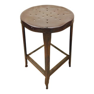 Antique Metal Factory Stool For Sale