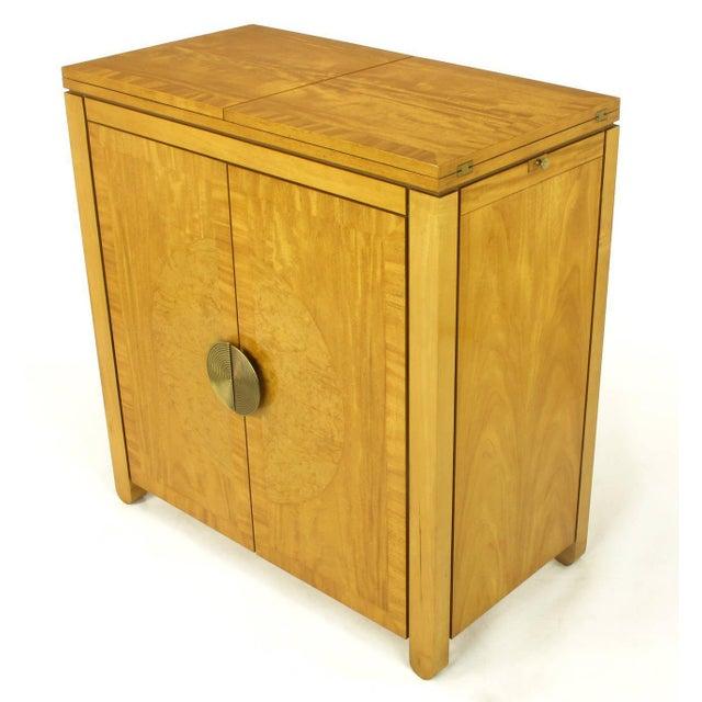 Charles Pfister for Baker primavera mahogany bar cabinet, convertible to a bar cart. Flip top with underside black micarta...