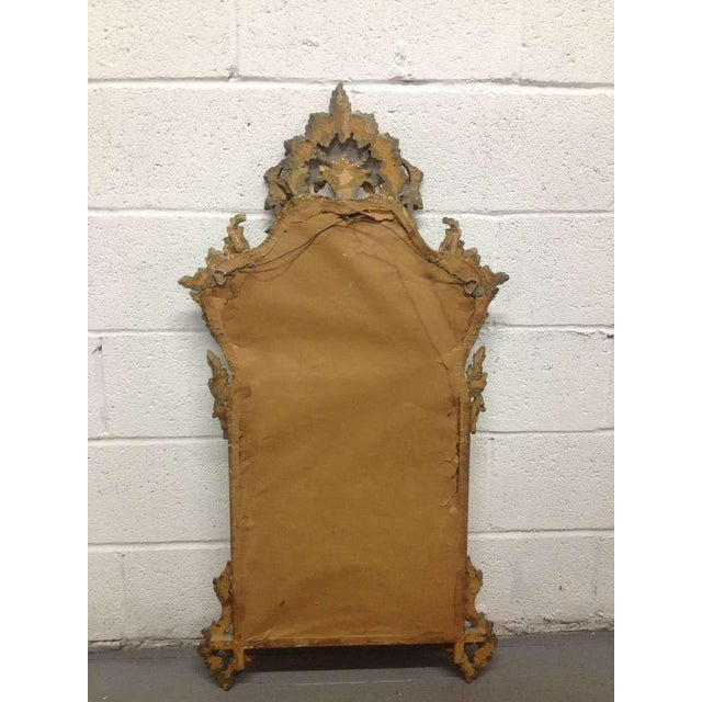 Pair of French Antique Hand-Carved Wooden Gilded Mirrors For Sale - Image 4 of 6