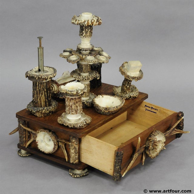An Elaborate Handmade Black Forest Style Smoking Set Ca. 1900 For Sale - Image 4 of 8