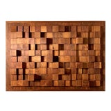 Image of 1970s Vintage Abstract Wood Relief Wall Sculpture For Sale