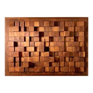 1970s Vintage Abstract Wood Relief Wall Sculpture For Sale