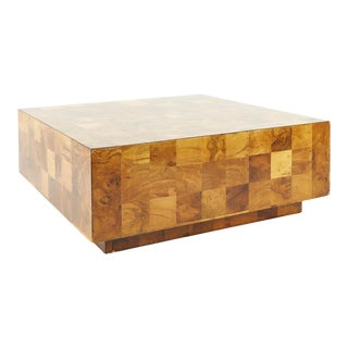 Paul Evans Style Mid Century Patchwork Burlwood Coffee Table For Sale