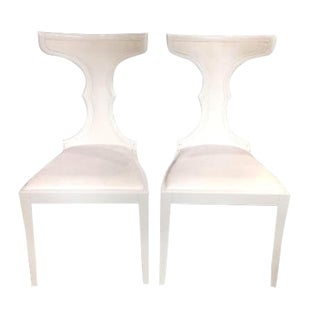Art Deco White Acrylic & Italian Upholstery Side Chairs - a Pair For Sale