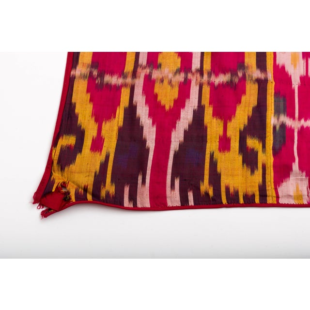 Late 19th Century Silk Ikat Uzbekistan Tribal Weaving For Sale In Palm Springs - Image 6 of 9