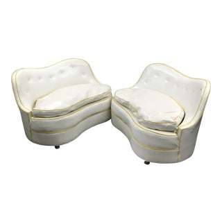 1970s Vintage Kidney Armless Settees in Vinyl - a Pair For Sale