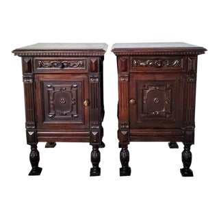 19th Century Continental Renaissance Revival Bedside Tables - a Pair For Sale