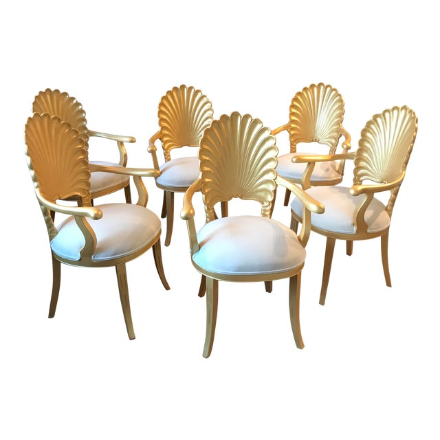 Offered at Modcabana. Featured here are a set of 6 Mid Century Hollywood Regency Grotto Armchairs that have been...