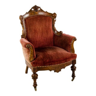 Late 19th Century Victorian Walnut and Burlwood Carved Upholstered Arm Chair For Sale