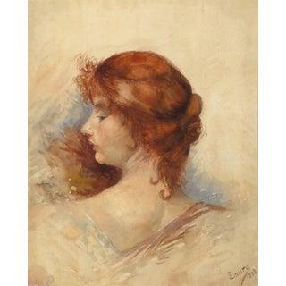 Antique French Watercolor Portrait - Profile of Elegance (Woman) For Sale
