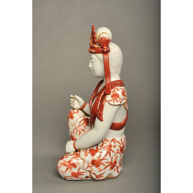 Japanese Hand-Painted Porcelain Bodhisattva Sculpture - Image 7 of 8