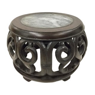 Chinese Rosewood Marble Carved Plant Stand For Sale