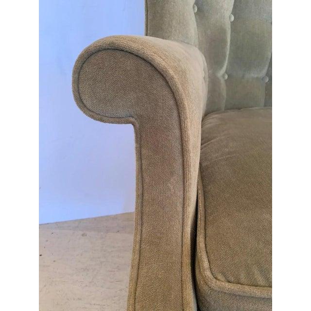 Vintage Tufted Sage Green Velvet Barrel Back Wing Chair For Sale - Image 9 of 12