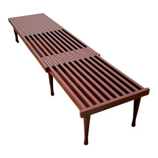 Mid-Century Brown Saltman Slat Expandable Bench Table For Sale