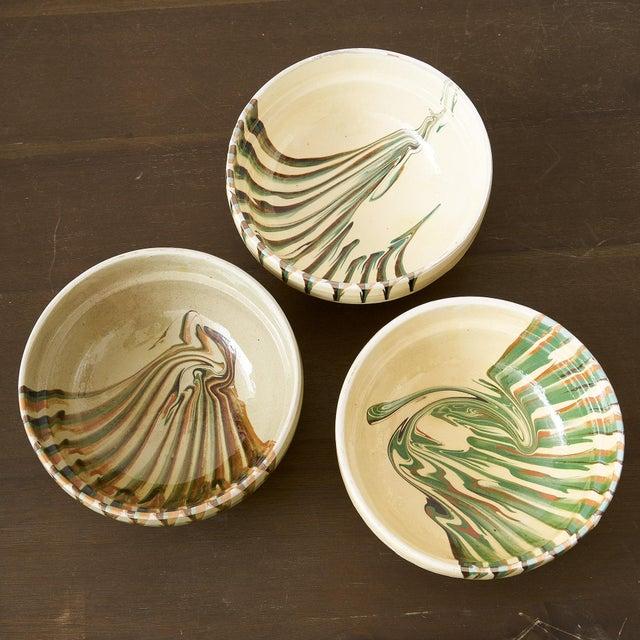 2020s European Handglazed Bowls- Set of 3 For Sale - Image 5 of 5