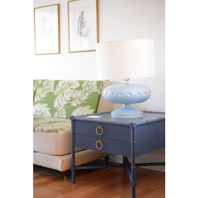 Blue Chinoiserie Heritage Faux Bamboo Navy Wood SideTable For Sale - Image 8 of 10