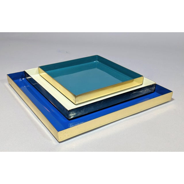 Early 21st Century Brass and Enamel Blue, Teal & White Trays - Set of 3 For Sale - Image 5 of 13