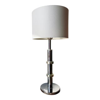 Mid Century Modern Chrome and Brass Ring Table Lamp For Sale