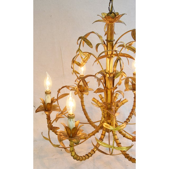 Vintage Italian Six-Arm/Light Gold Gilt Bamboo Tole Chandelier - Image 5 of 11